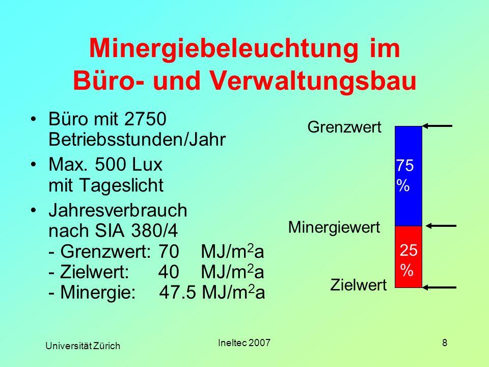 Universität Zürich Ineltec 20078 Minergiebeleuchtung im Büro- und Verwaltungsbau Büro mit 2750 Betriebsstunden/Jahr Max. 500 Lux mit Tageslicht Jahres