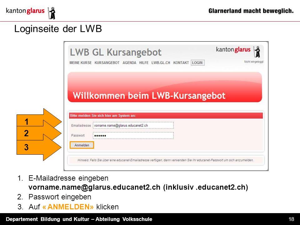 Departement Bildung und Kultur – Abteilung Volksschule 18 Loginseite der LWB 1.E-Mailadresse eingeben vorname.name@glarus.educanet2.ch (inklusiv.educa