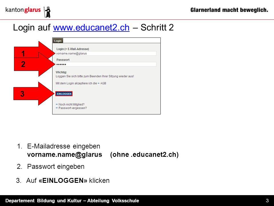 Departement Bildung und Kultur – Abteilung Volksschule 3 Login auf www.educanet2.ch – Schritt 2 1.E-Mailadresse eingeben vorname.name@glarus (ohne.edu
