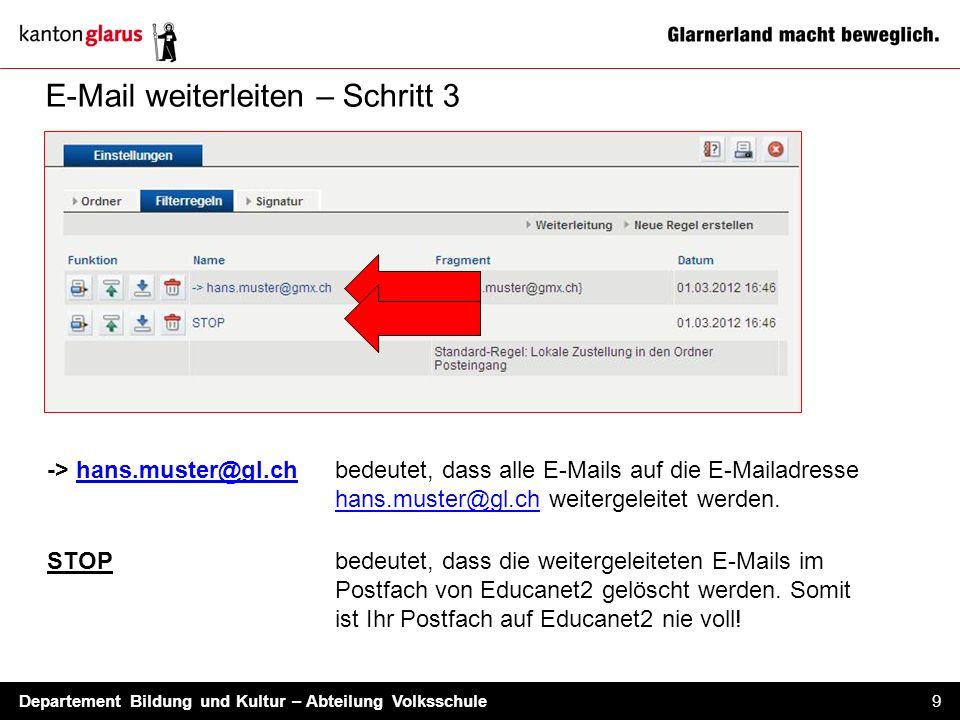 Departement Bildung und Kultur – Abteilung Volksschule 9 E-Mail weiterleiten – Schritt 3 -> hans.muster@gl.chbedeutet, dass alle E-Mails auf die E-Mai