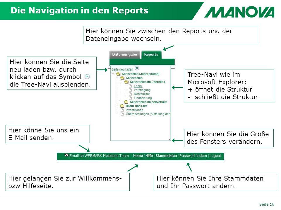 Die Navigation in den Reports Seite 16 Tree-Navi wie im Microsoft Explorer: + öffnet die Struktur - schließt die Struktur Hier können Sie die Größe des Fensters verändern.