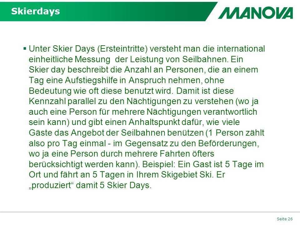 Skierdays Unter Skier Days (Ersteintritte) versteht man die international einheitliche Messung der Leistung von Seilbahnen. Ein Skier day beschreibt d