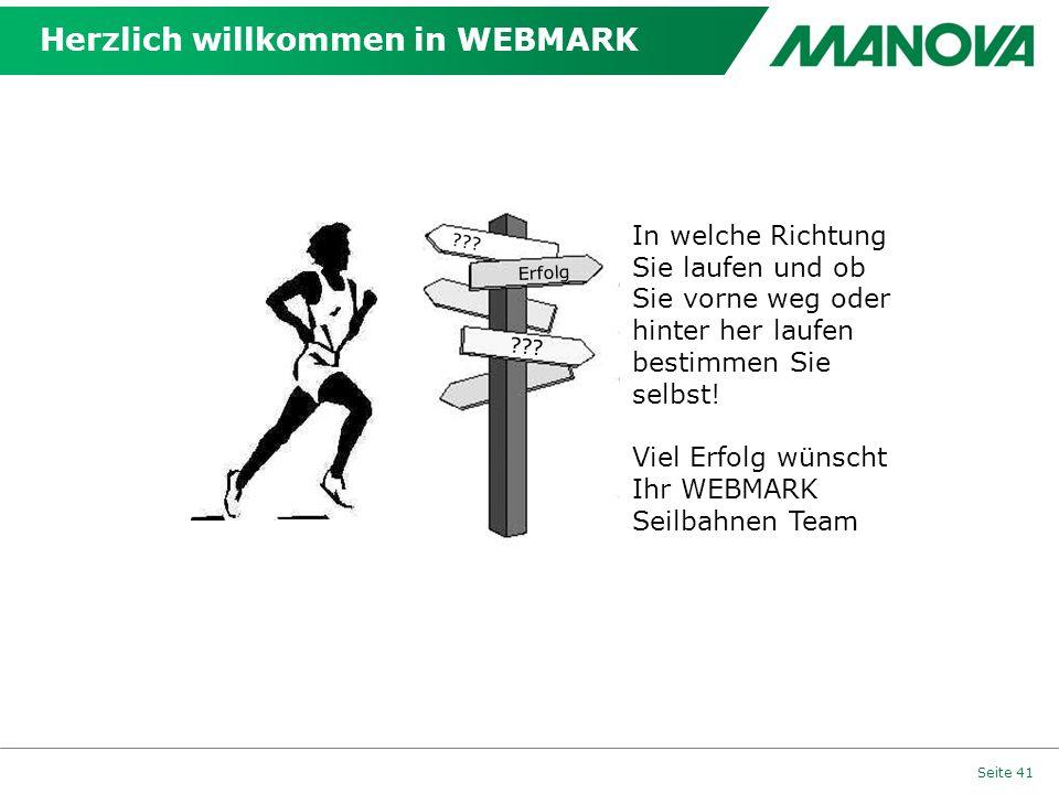 Herzlich willkommen in WEBMARK Seite 41 Erfolg ??.