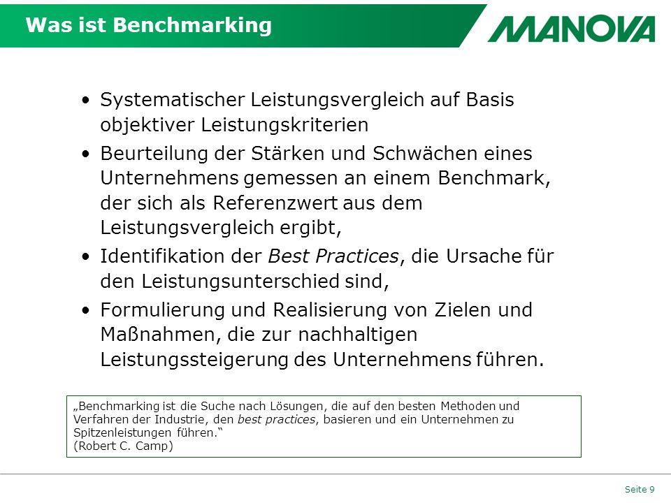 Was ist Benchmarking Seite 9 Systematischer Leistungsvergleich auf Basis objektiver Leistungskriterien Beurteilung der Stärken und Schwächen eines Unt