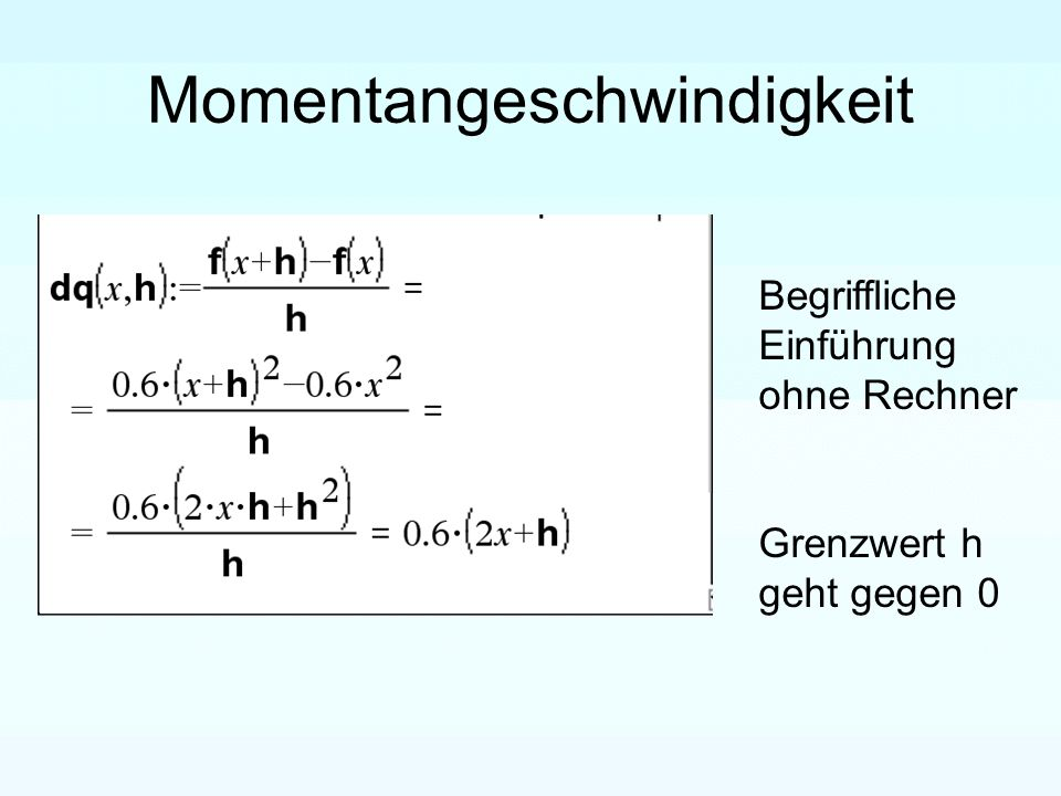 Momentangeschwindigkeit Begriffliche Einführung ohne Rechner Grenzwert h geht gegen 0