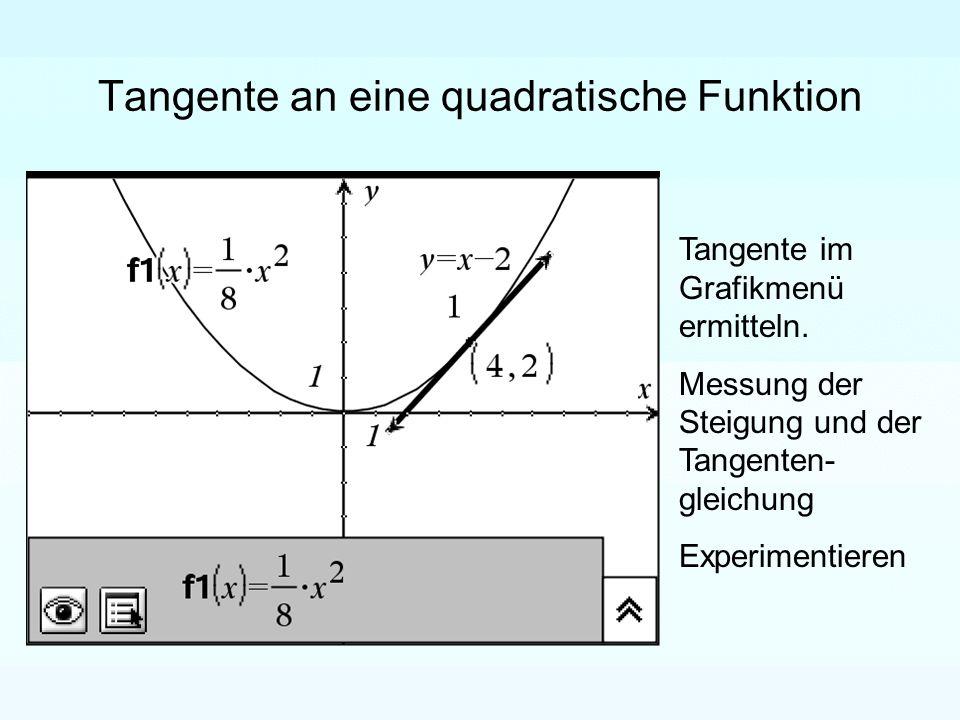 Tangente an eine quadratische Funktion Tangente im Grafikmenü ermitteln.