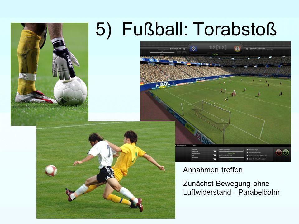 5) Fußball: Torabstoß Annahmen treffen. Zunächst Bewegung ohne Luftwiderstand - Parabelbahn