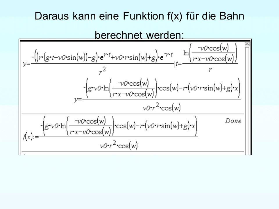 Daraus kann eine Funktion f(x) für die Bahn berechnet werden:
