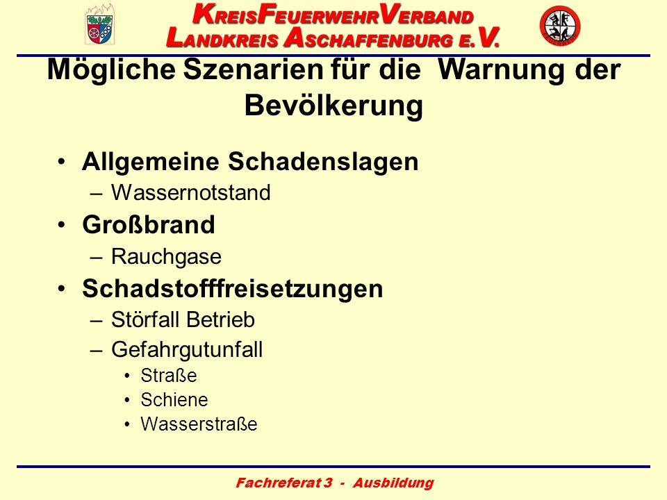 Fachreferat 3 - Ausbildung Mögliche Szenarien für die Warnung der Bevölkerung Allgemeine Schadenslagen –Wassernotstand Großbrand –Rauchgase Schadstoff