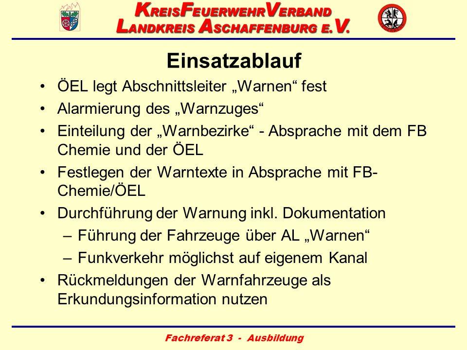 Fachreferat 3 - Ausbildung Einsatzablauf ÖEL legt Abschnittsleiter Warnen fest Alarmierung des Warnzuges Einteilung der Warnbezirke - Absprache mit de