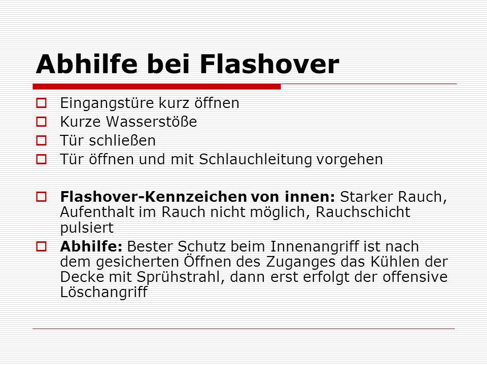 Abhilfe bei Flashover Eingangstüre kurz öffnen Kurze Wasserstöße Tür schließen Tür öffnen und mit Schlauchleitung vorgehen Flashover-Kennzeichen von i