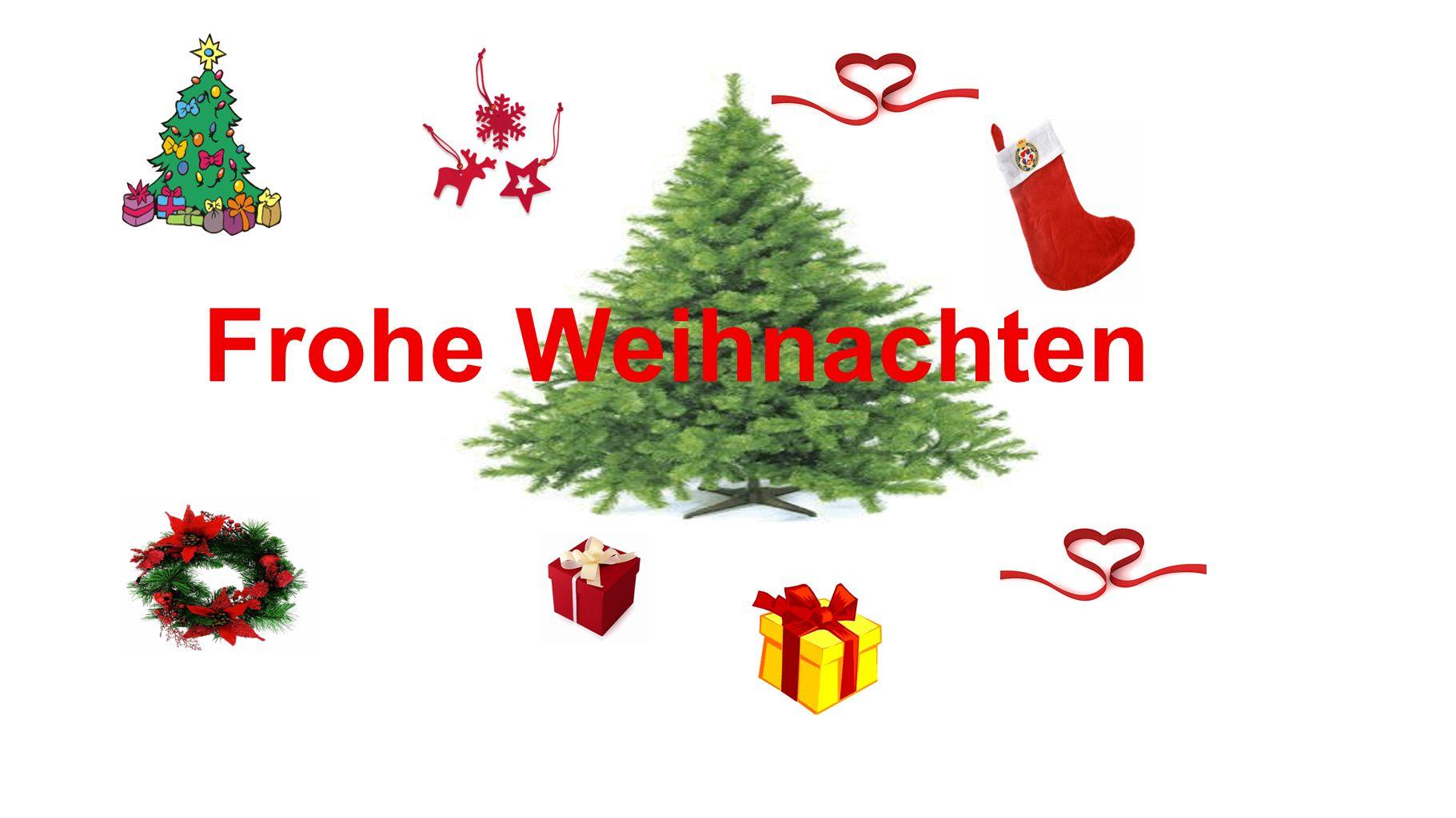 die Glaskugel der Tannenbaum die Kerze der Stern der Weihnachtskranz das Weihnachtslied die Plätzchen der Weihnachtsmann das Geschenk das Weihnachtsglöckchen Stille Nacht, heilige Nacht 24 Dezember der Heiligabend