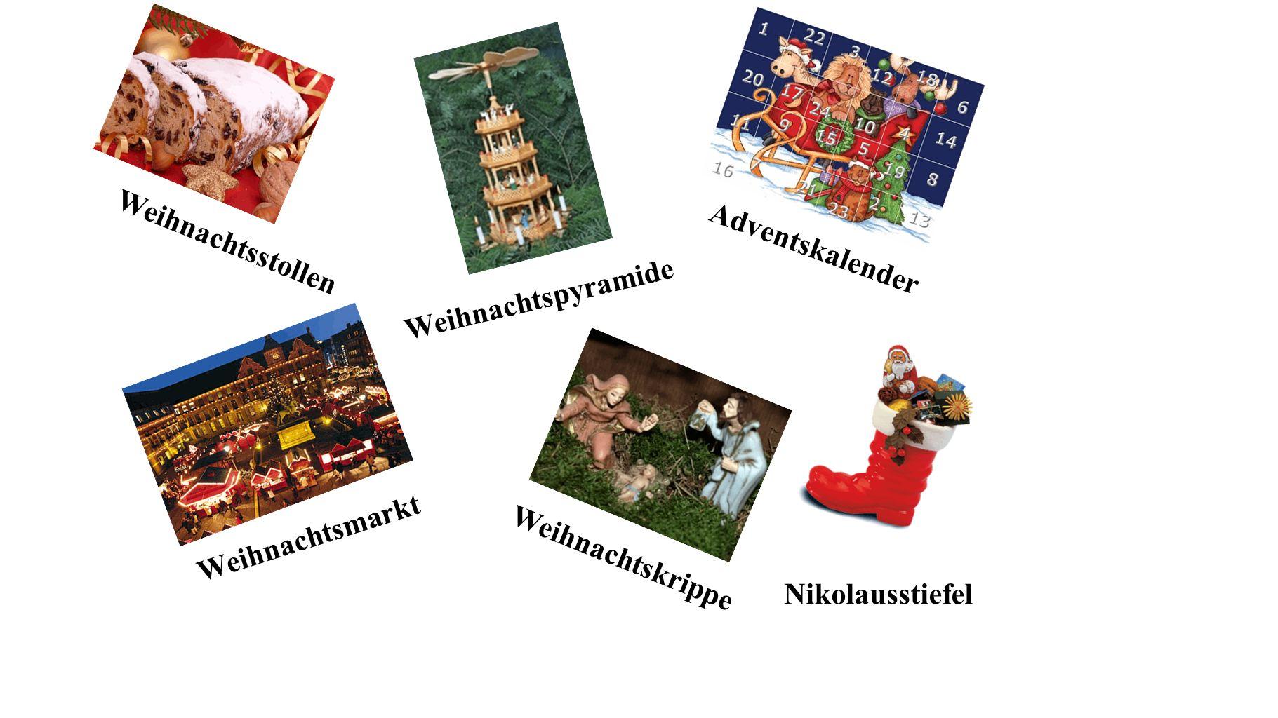 Adventskalender Weihnachtsstollen Weihnachtspyramide Weihnachtskrippe Nikolausstiefel Weihnachtsmarkt
