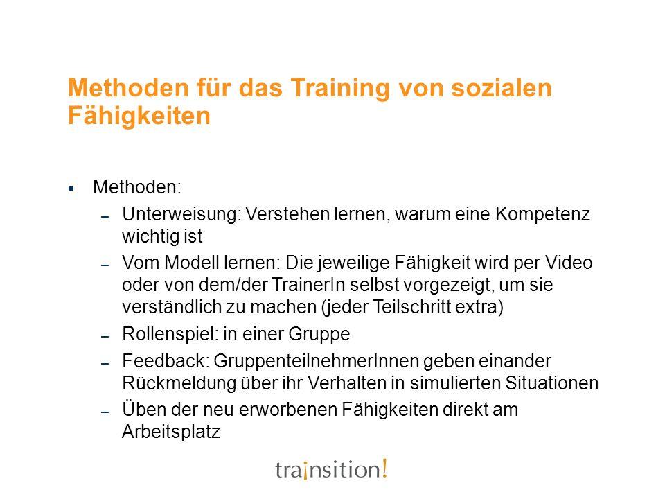 Methoden für das Training von sozialen Fähigkeiten Methoden: – Unterweisung: Verstehen lernen, warum eine Kompetenz wichtig ist – Vom Modell lernen: D