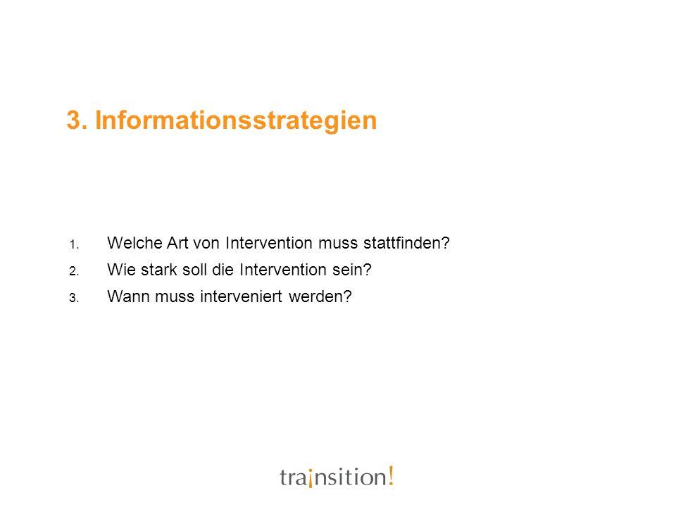 3. Informationsstrategien 1. Welche Art von Intervention muss stattfinden? 2. Wie stark soll die Intervention sein? 3. Wann muss interveniert werden?