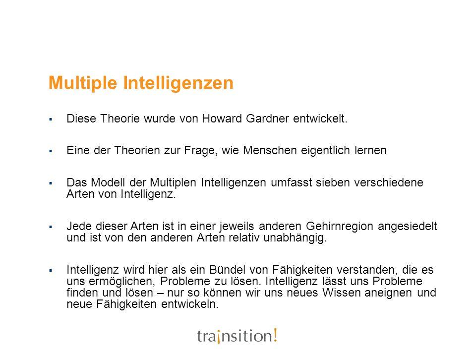 Multiple Intelligenzen Diese Theorie wurde von Howard Gardner entwickelt. Eine der Theorien zur Frage, wie Menschen eigentlich lernen Das Modell der M