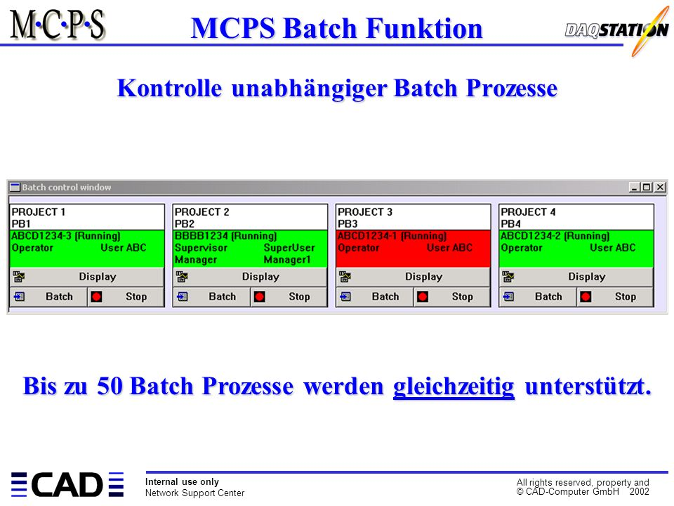 Internal use only Network Support Center All rights reserved, property and © CAD-Computer GmbH 2002 Kontrolle unabhängiger Batch Prozesse MCPS Batch Funktion Bis zu 50 Batch Prozesse werden gleichzeitig unterstützt.