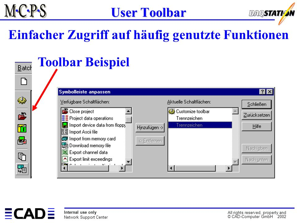 Internal use only Network Support Center All rights reserved, property and © CAD-Computer GmbH 2002 User Toolbar Einfacher Zugriff auf häufig genutzte Funktionen Toolbar Beispiel