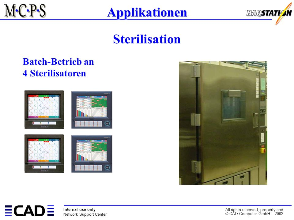 Internal use only Network Support Center All rights reserved, property and © CAD-Computer GmbH 2002 Applikationen Sterilisation Batch-Betrieb an 4 Ste