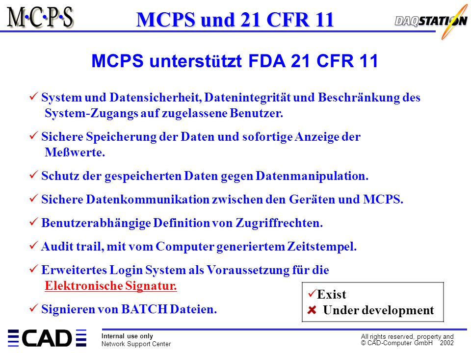 Internal use only Network Support Center All rights reserved, property and © CAD-Computer GmbH 2002 System und Datensicherheit, Datenintegrität und Beschränkung des System-Zugangs auf zugelassene Benutzer.