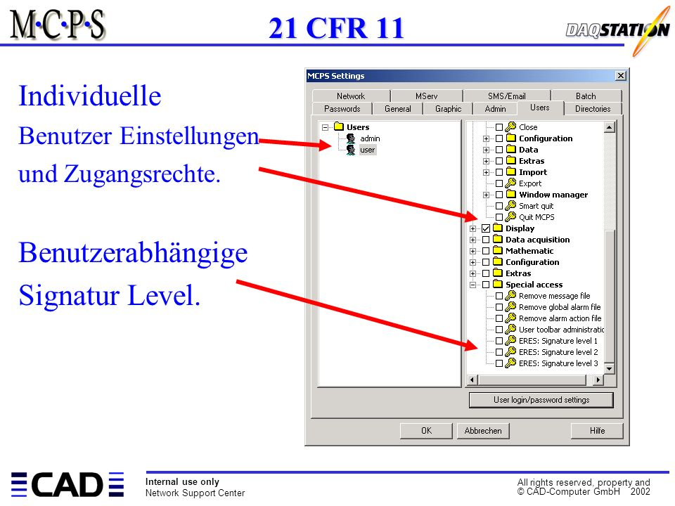 Internal use only Network Support Center All rights reserved, property and © CAD-Computer GmbH 2002 Individuelle Benutzer Einstellungen und Zugangsrechte.