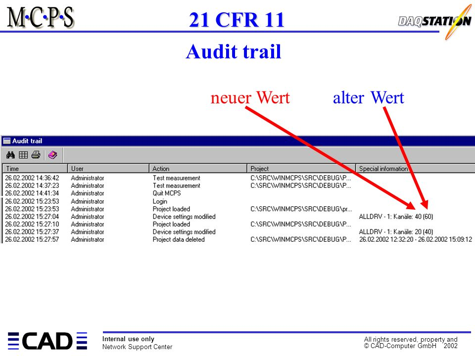 Internal use only Network Support Center All rights reserved, property and © CAD-Computer GmbH 2002 21 CFR 11 Audit trail neuer Wert alter Wert