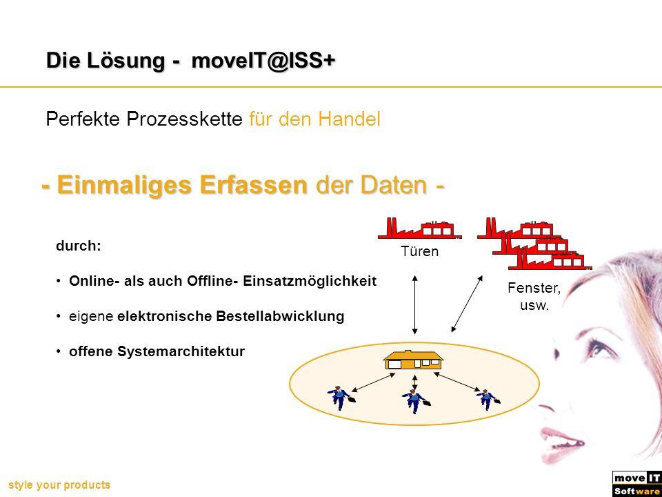 style your products Perfekte Prozesskette für den Handel - Einmaliges Erfassen der Daten - Die Lösung - moveIT@ISS+ durch: Online- als auch Offline- E