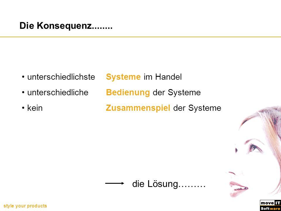 style your products unterschiedlichste Systeme im Handel unterschiedlicheBedienung der Systeme kein Zusammenspiel der Systeme die Lösung……… Die Konseq