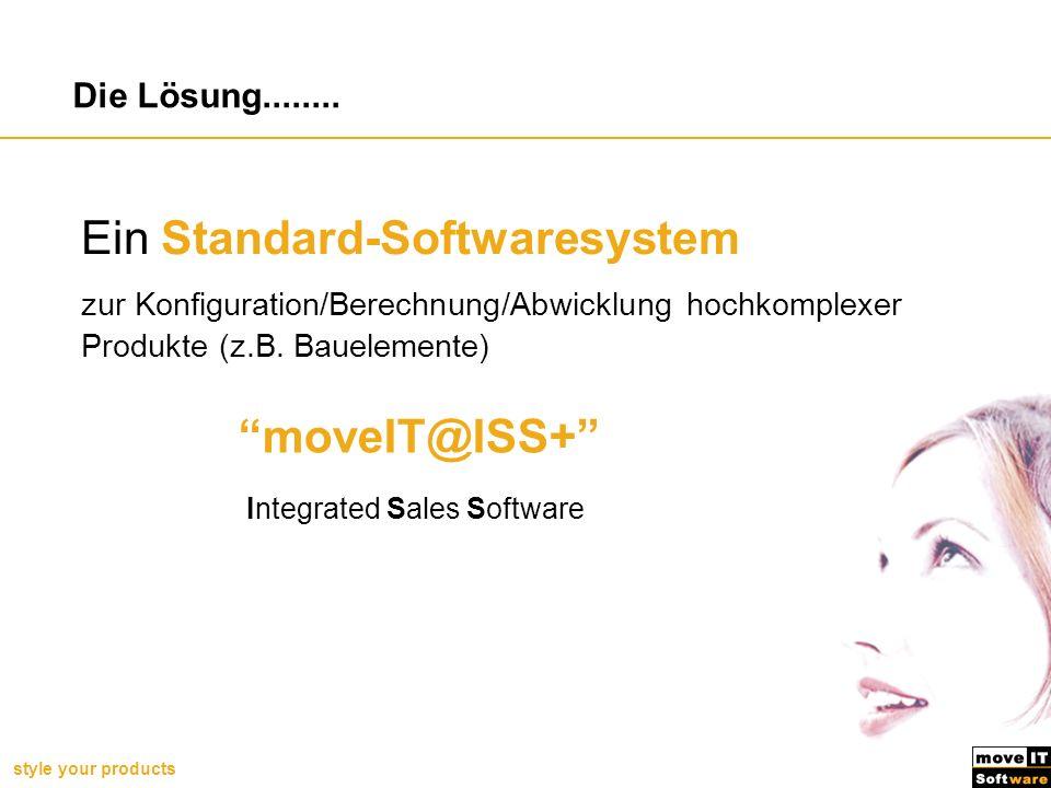 style your products Die Lösung........ Ein Standard-Softwaresystem zur Konfiguration/Berechnung/Abwicklung hochkomplexer Produkte (z.B. Bauelemente) m
