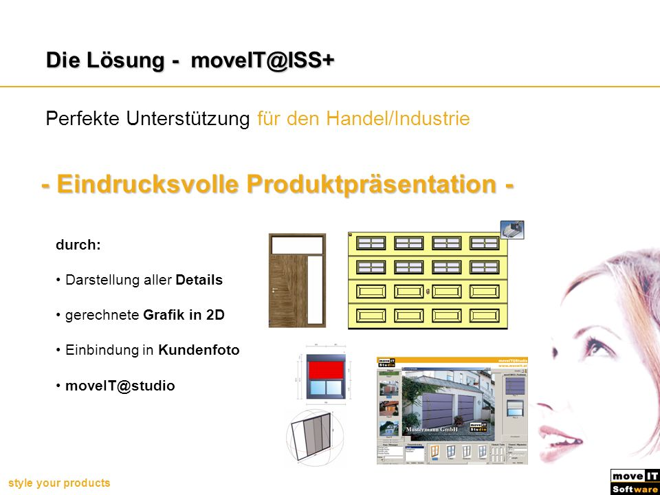 style your products Beispiel: Endkundenmodul – moveIT@Studio Endkundenmodul