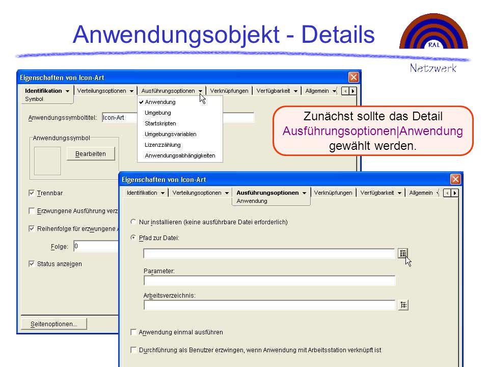 Anwendungsobjekt - Details Zunächst sollte das Detail Ausführungsoptionen|Anwendung gewählt werden.