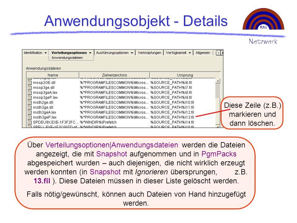 Anwendungsobjekt - Details Über Verteilungsoptionen|Anwendungsdateien werden die Dateien angezeigt, die mit Snapshot aufgenommen und in PgmPacks abges