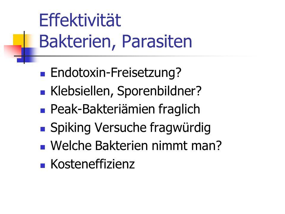Effektivität Bakterien, Parasiten Endotoxin-Freisetzung? Klebsiellen, Sporenbildner? Peak-Bakteriämien fraglich Spiking Versuche fragwürdig Welche Bak