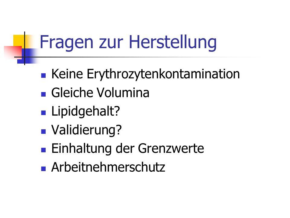 Fragen zur Herstellung Keine Erythrozytenkontamination Gleiche Volumina Lipidgehalt? Validierung? Einhaltung der Grenzwerte Arbeitnehmerschutz