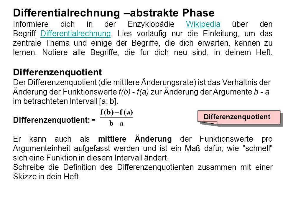 Differentialrechnung –abstrakte Phase Informiere dich in der Enzyklopädie Wikipedia über den Begriff Differentialrechnung. Lies vorläufig nur die Einl