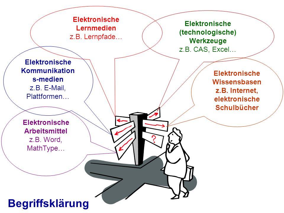 Elektronische Lernmedien z.B. Lernpfade… Elektronische (technologische) Werkzeuge z.B. CAS, Excel… Elektronische Kommunikation s-medien z.B. E-Mail, P