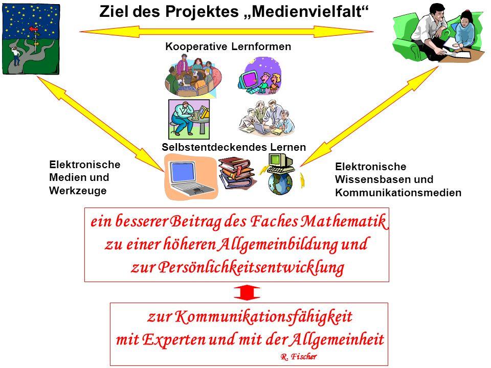 Kooperative Lernformen Selbstentdeckendes Lernen Elektronische Medien und Werkzeuge Elektronische Wissensbasen und Kommunikationsmedien Ziel des Proje