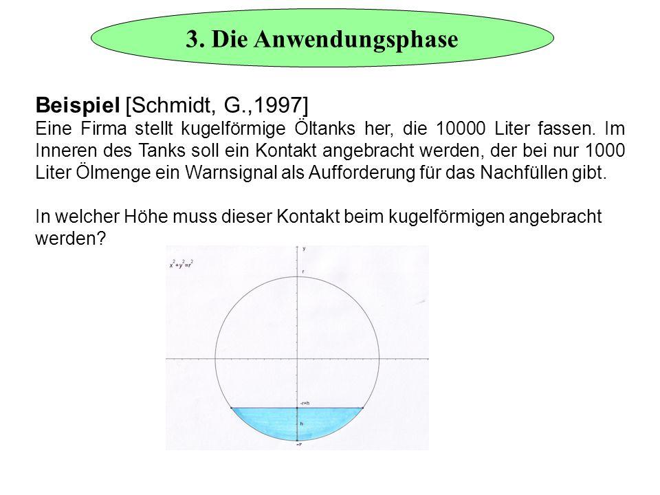 3. Die Anwendungsphase Beispiel [Schmidt, G.,1997] Eine Firma stellt kugelförmige Öltanks her, die 10000 Liter fassen. Im Inneren des Tanks soll ein K