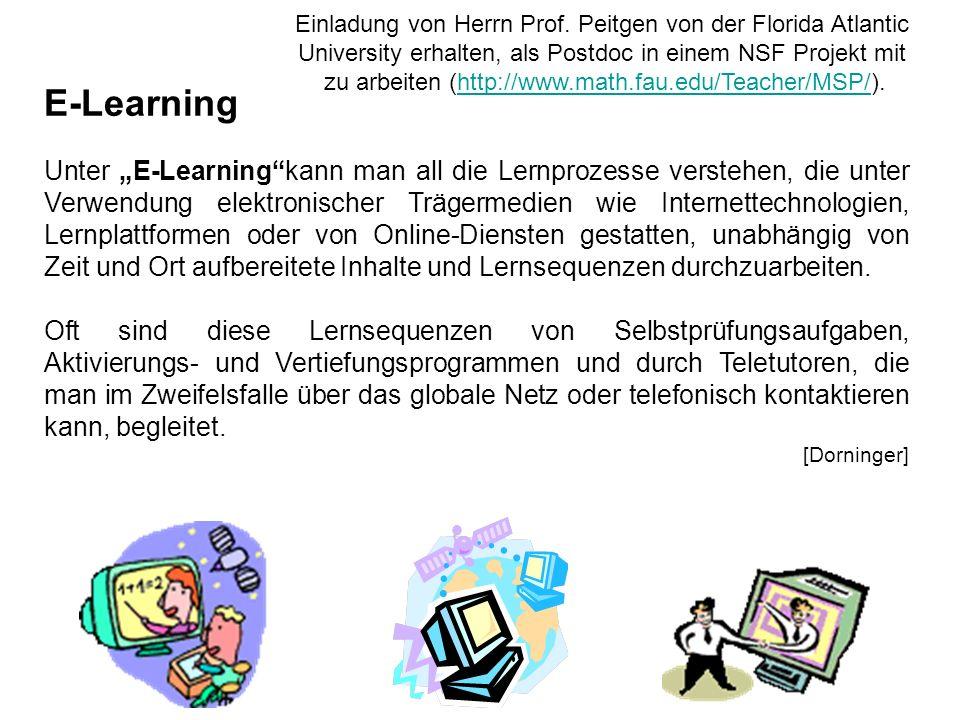 E-Learning Unter E-Learningkann man all die Lernprozesse verstehen, die unter Verwendung elektronischer Trägermedien wie Internettechnologien, Lernpla