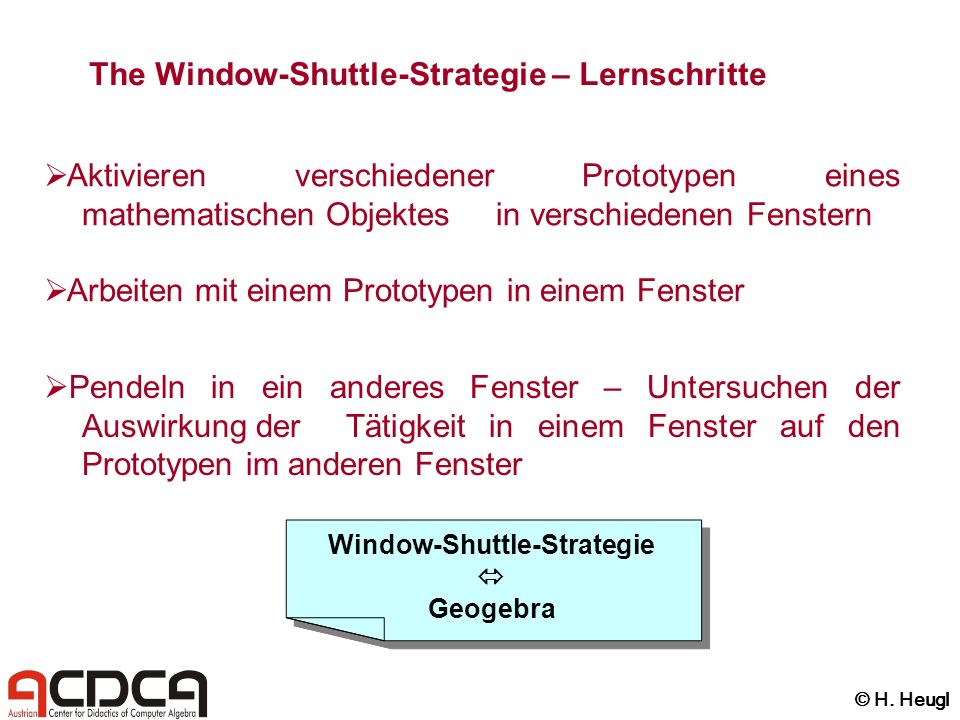 The Window-Shuttle-Strategie – Lernschritte Aktivieren verschiedener Prototypen eines mathematischen Objektes in verschiedenen Fenstern Arbeiten mit e