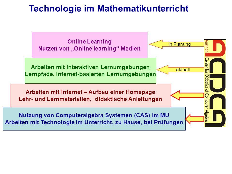 Nutzung von Computeralgebra Systemen (CAS) im MU Arbeiten mit Technologie im Unterricht, zu Hause, bei Prüfungen Technologie im Mathematikunterricht A