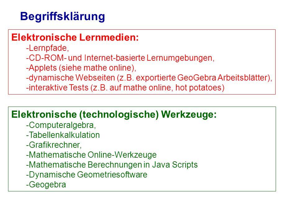 Begriffsklärung Elektronische Lernmedien: -Lernpfade, -CD-ROM- und Internet-basierte Lernumgebungen, -Applets (siehe mathe online), -dynamische Websei