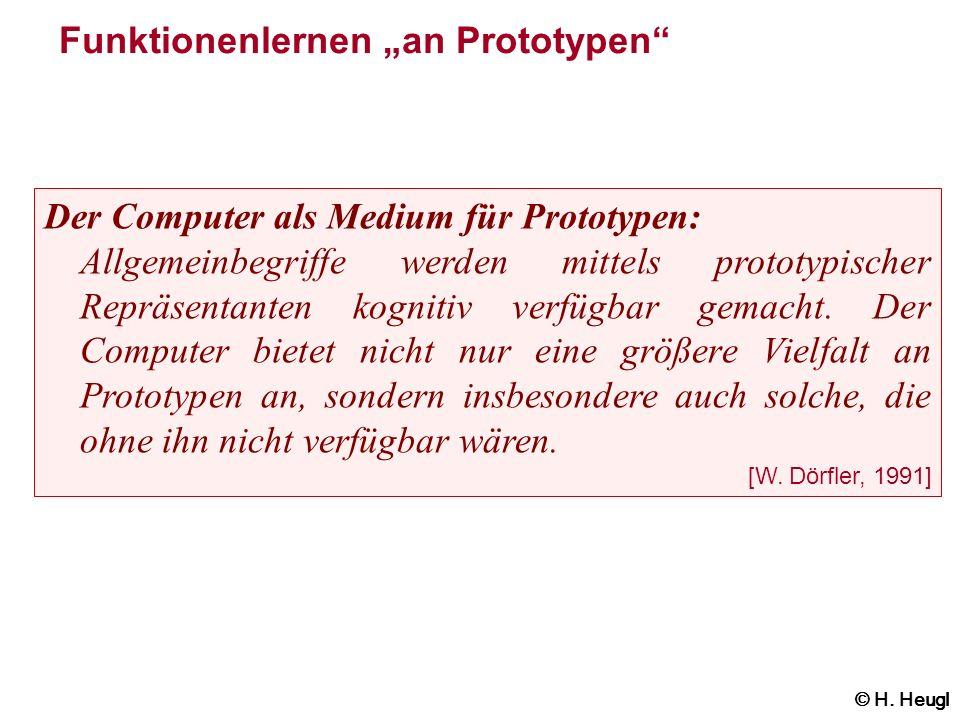 Funktionenlernen an Prototypen Der Computer als Medium für Prototypen: Allgemeinbegriffe werden mittels prototypischer Repräsentanten kognitiv verfügb
