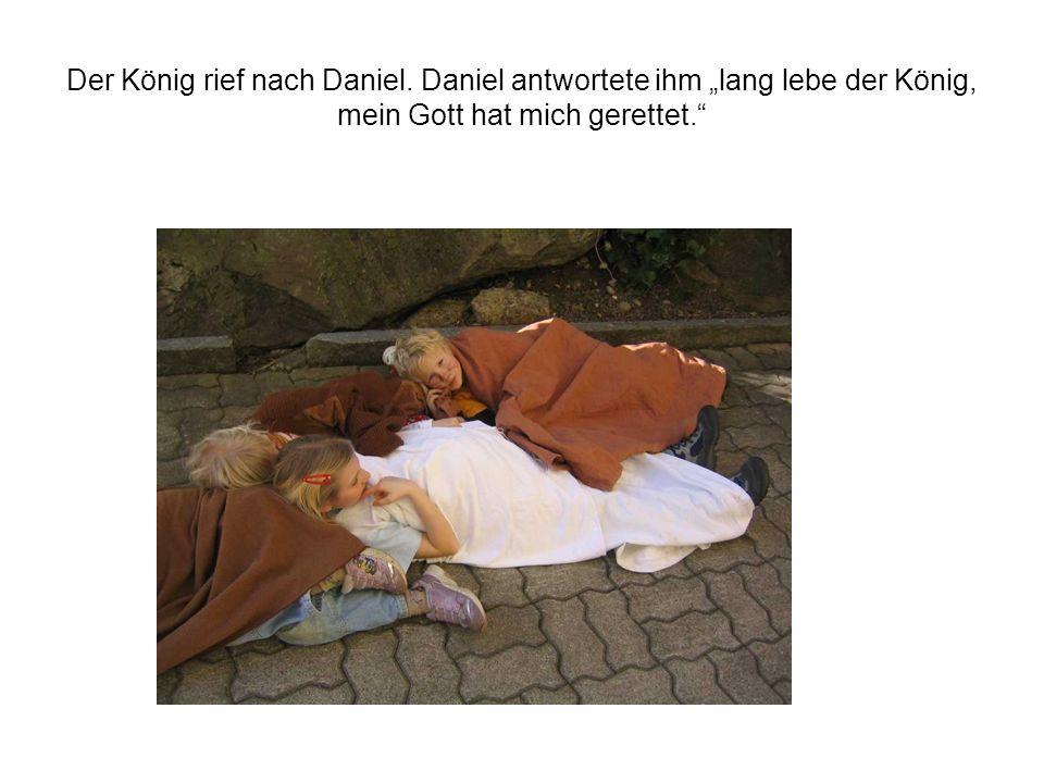 Der König rief nach Daniel. Daniel antwortete ihm lang lebe der König, mein Gott hat mich gerettet.