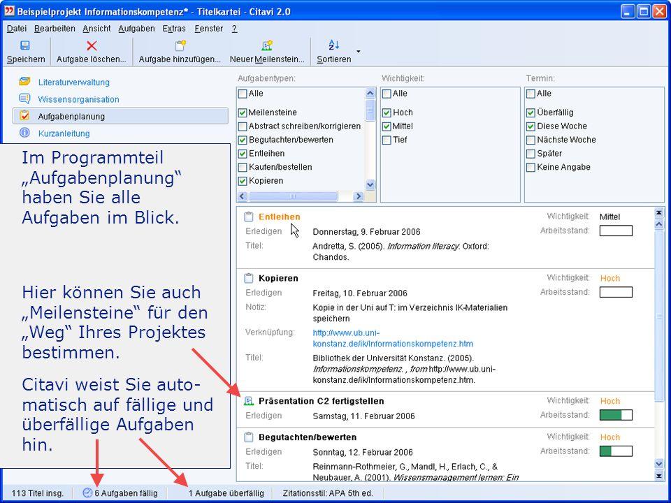 -Einführung 27/31 Aufgaben planen Im Programmteil Aufgabenplanung haben Sie alle Aufgaben im Blick.