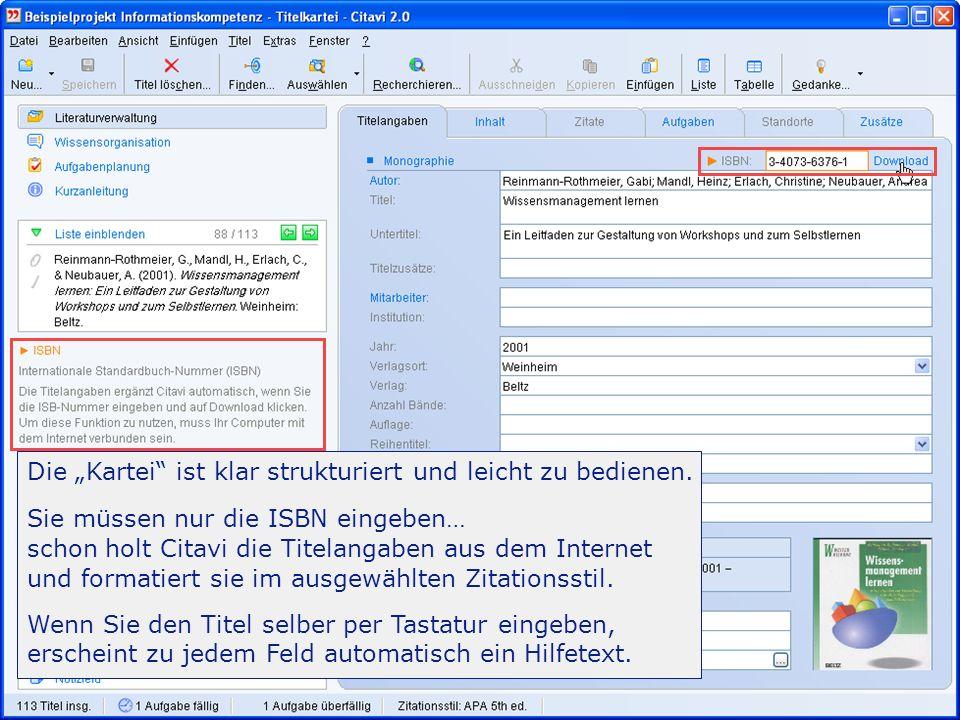 -Einführung 28/31 Importieren, exportieren Citavi importiert Daten aus allen professionellen Literaturverwaltungen, aus MS Excel ®, MS Access ® und OpenOffice Calc.