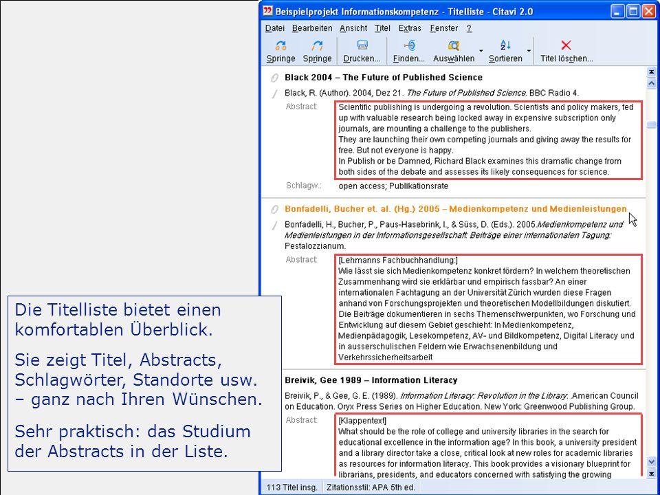-Einführung 29/31 Importieren, exportieren Sie sind auf der sicheren Seite: Citavi speichert Ihre Daten nicht in einem proprietären Format, sondern als Microsoft ® Access-Datenbank.
