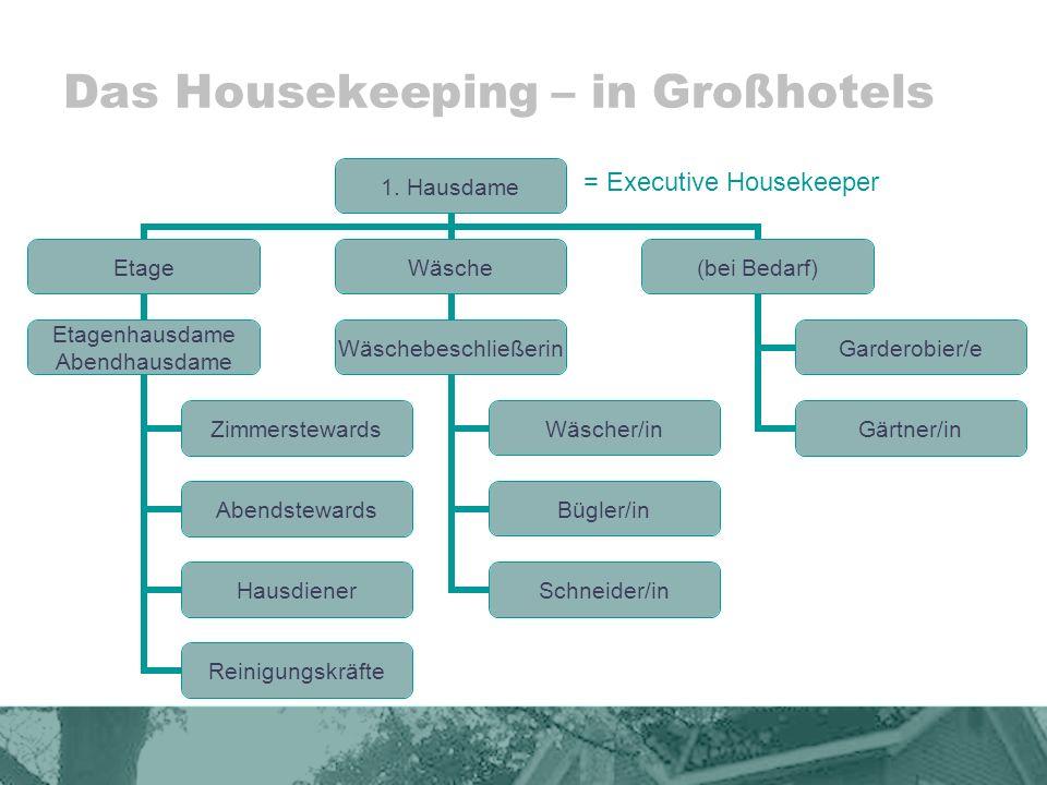 Das Housekeeping – in mittelgroßen Hotels Hausdame Zimmerstewards Reinigungskräfte Wäscher/in Bügler/in Hilfskräfte (bei Bedarf) Hausdiener