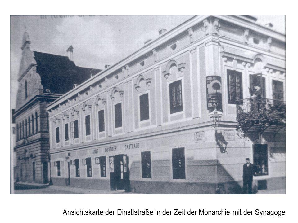 Ansichtskarte der Dinstlstraße in der Zeit der Monarchie mit der Synagoge