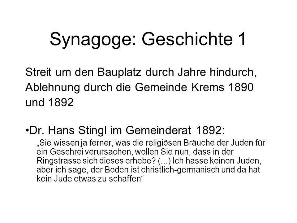 Synagoge: Geschichte 1 Streit um den Bauplatz durch Jahre hindurch, Ablehnung durch die Gemeinde Krems 1890 und 1892 Dr. Hans Stingl im Gemeinderat 18
